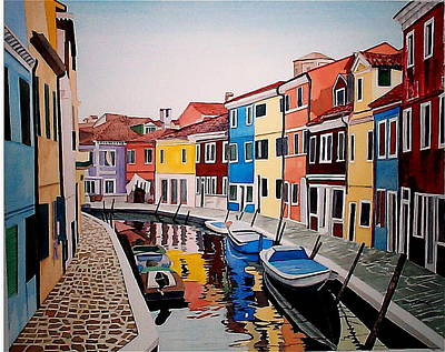 Motor Boats Painting - Italian Colors by Stephen Abbott