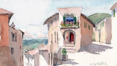 Italian Street Painting - Italian Crossroads by Kelly Medford