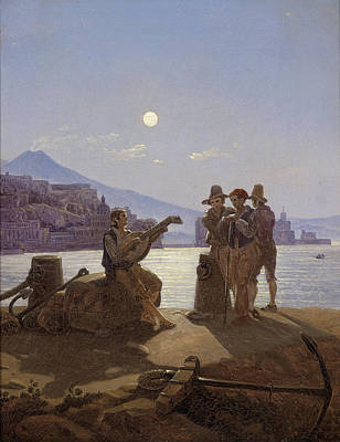 Carl Gustav Carus Painting - Italian Fishermen In The Port Of Naples by Carl Gustav Carus
