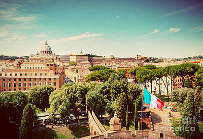 Religion Photograph - Italian Flag Waving Vatican City by Michal Bednarek