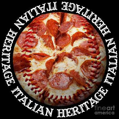 Baseball Photograph - Italian Heritage Baseball Pizza Square by Andee Design