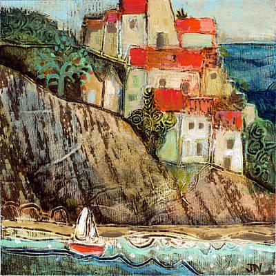 Italian Landscapes Painting - Italian Hill Town by Jen Norton
