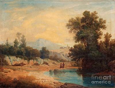 Italian Landscape Painting - Italian Landscape With Figures by Gustaf Wilhelm
