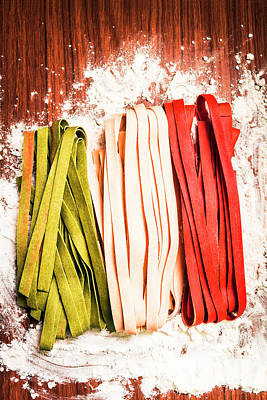Italian Pasta In National Flag On Flour Print by Jorgo Photography - Wall Art Gallery
