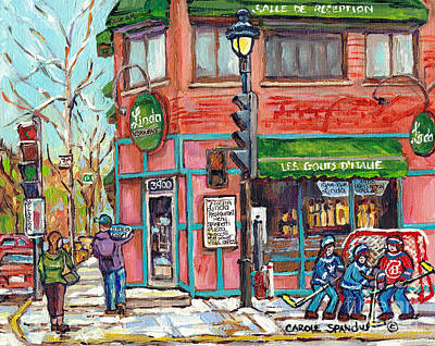 Verdun Landmarks Painting - Italian Restaurant Linda Verdun Montreal Painting Winter City Scene Hockey Game Art Carole Spandau   by Carole Spandau
