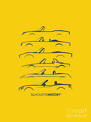 Dino Digital Art - Italian Roadster Silhouettehistory by Gabor Vida