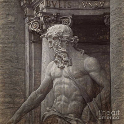 Piazza Drawing - Italian Statue by HD Connelly