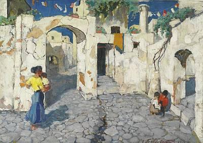 Italian Street Painting - Italian Street Scene by Grigori Mikhailovich