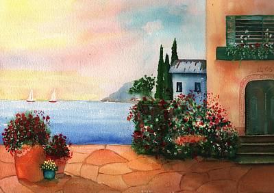 Italian Sunset Villa By The Sea Print by Sharon Mick
