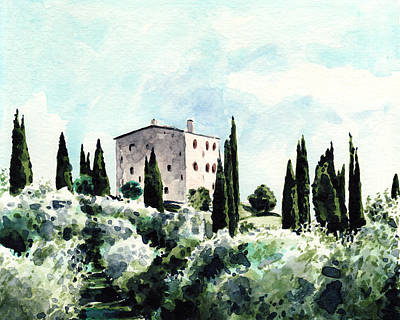 Italian Landscapes Painting - Italian Villa Sundrenched Landscape In Tuscany by Laura Row