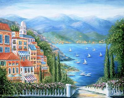 Italian Village By The Sea Print by Marilyn Dunlap