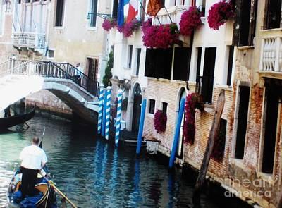 Purple Flowers Digital Art - Italy Gondola Canal by Marsha Heiken