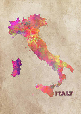 Map Of Italy Digital Art - Italy Map by Justyna JBJart