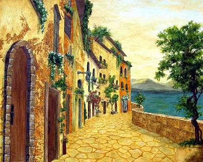 Walkway Drawing - Italy's Hues by Leslie Rhoades