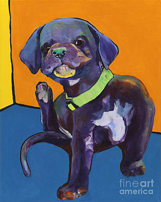 Black Lab Puppy Painting - Itchy by Pat Saunders-White