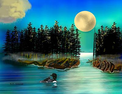 It's A Marvelous Night For A Loon Dance With Apologies To Van Morrison Print by Bob Donner