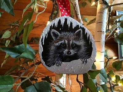 Raccoon Mixed Media - Its A Rocky Christmas by Jennifer Lake