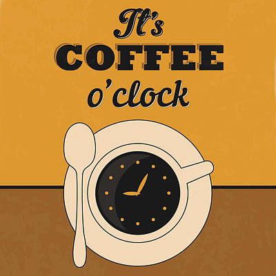 Lucky Digital Art - It's Coffee O'clock by Naxart Studio