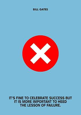 It's Fine To Celebrate Success Bill Gates Famous Quotes Poster Print by Lab No 4 The Quotography Department