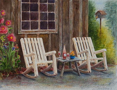 Rocking Chairs Painting - It's Five O'clock Somewhere by Karen Fleschler