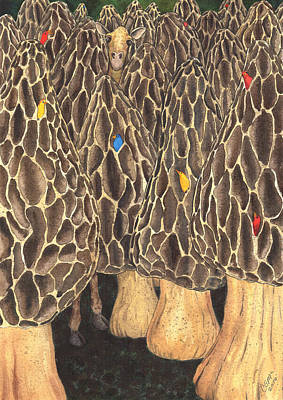 Fungi Painting - It's Like Looking For A Giraffe In A Forest Of Morels. by Catherine G McElroy
