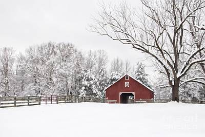 Red Barn In Winter Photograph - It's Snow Mesmerizing by Benanne Stiens