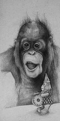 Orangutan Drawing - Ive Always Wanted One Of Those by Jean Cormier