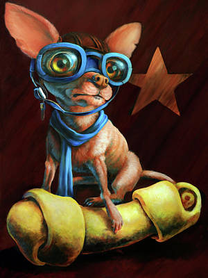 Aviator Print featuring the painting I've Got Mine by Vanessa Bates