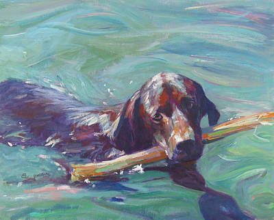 Dog In Lake Painting - Ive Got The Stick by Sandy Lindblad