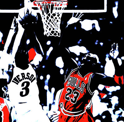 Iverson And Jordan Print by Brian Reaves