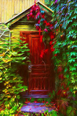 Entrance Door Mixed Media - Ivy Surrounded Old Outhouse by Georgiana Romanovna
