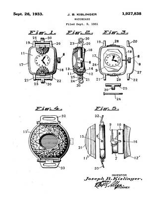 Sepia Chalk Drawing - J B Kislinger Watch Patent 1933 by Bill Cannon