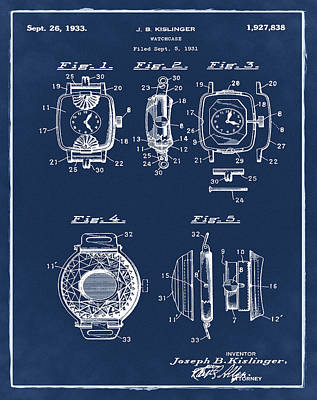 Sepia Chalk Drawing - J B Kislinger Watch Patent 1933 Blue by Bill Cannon