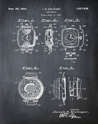 Sepia Chalk Drawing - J B Kislinger Watch Patent 1933 Chalk by Bill Cannon