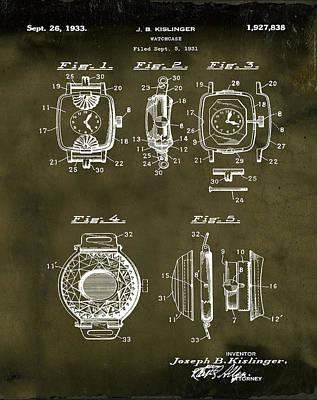 Sepia Chalk Drawing - J B Kislinger Watch Patent 1933 Grunge by Bill Cannon