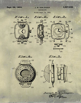 Sepia Chalk Drawing - J B Kislinger Watch Patent 1933 Weathered by Bill Cannon