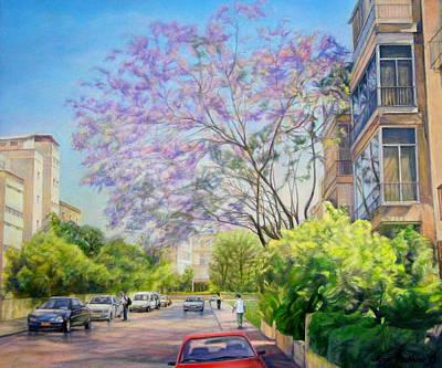 Jacaranda Tree Painting - Jacaranda Blossoms   by Maya Bukhina