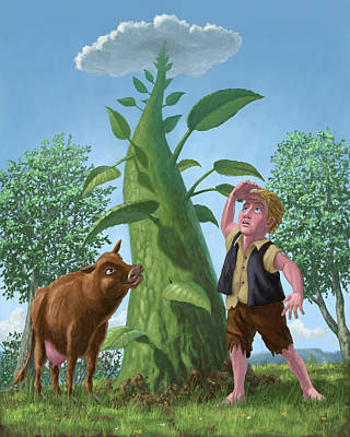Jack And The Beanstalk Print by Martin Davey