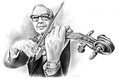 Violin Drawing - Jack Benny by Greg Joens