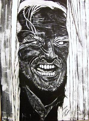 Jack Nicholson Painting - Jack Nicholson...here's Johnny by Cynthia Farmer