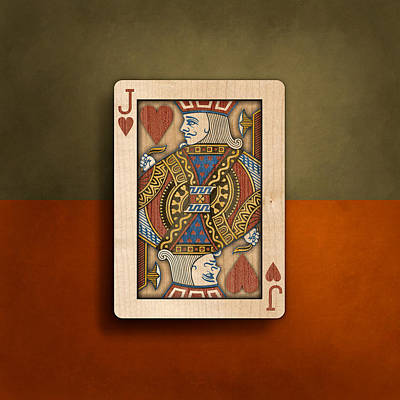 Playing Cards Photograph - Jack Of Hearts In Wood by YoPedro