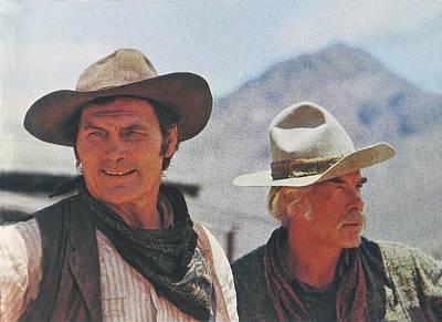 Jack Palance Photograph - Jack Palance And Lee Marvin Monte Walsh Set Old Tucson Arizona 1969 by David Lee Guss