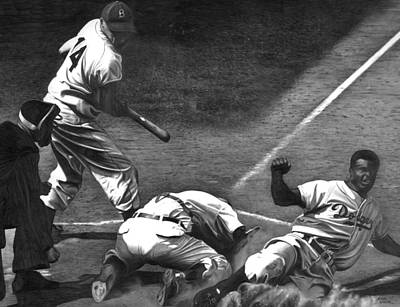 Athletes Drawing - Jackie Steals Home by Jerry Winick