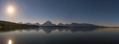 Jackson Lake Moon Print by Darren White