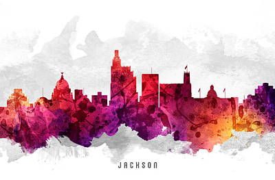Mississippi Digital Art - Jackson Mississippi Cityscape 14 by Aged Pixel