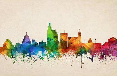 Towns Digital Art - Jackson Mississippi Skyline 05 by Aged Pixel