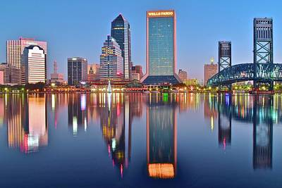 Jacksonville Florida At Daybreak Print by Frozen in Time Fine Art Photography