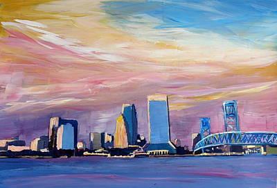 Jacksonville Florida Skyline With Bridge At Sunset Original by M Bleichner