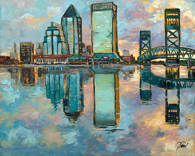 Jacksonville In The Morning Print by Jami Childers