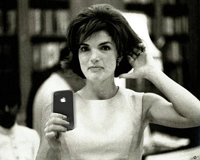 American First Lady Painting - Jacky Kennedy Takes A Selfie Small Version by Tony Rubino